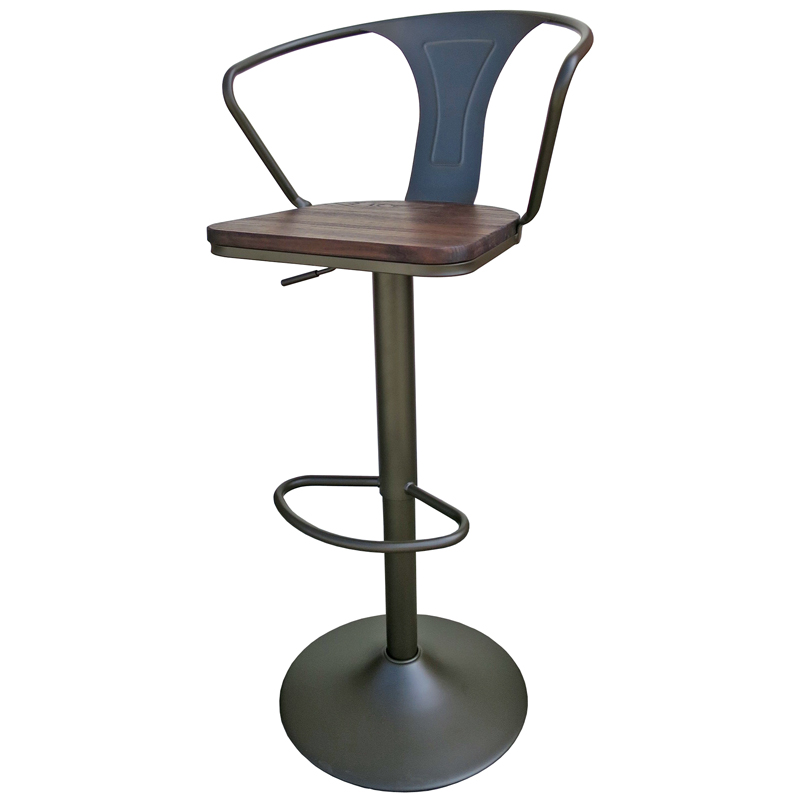 Industrial Stool with Backrest