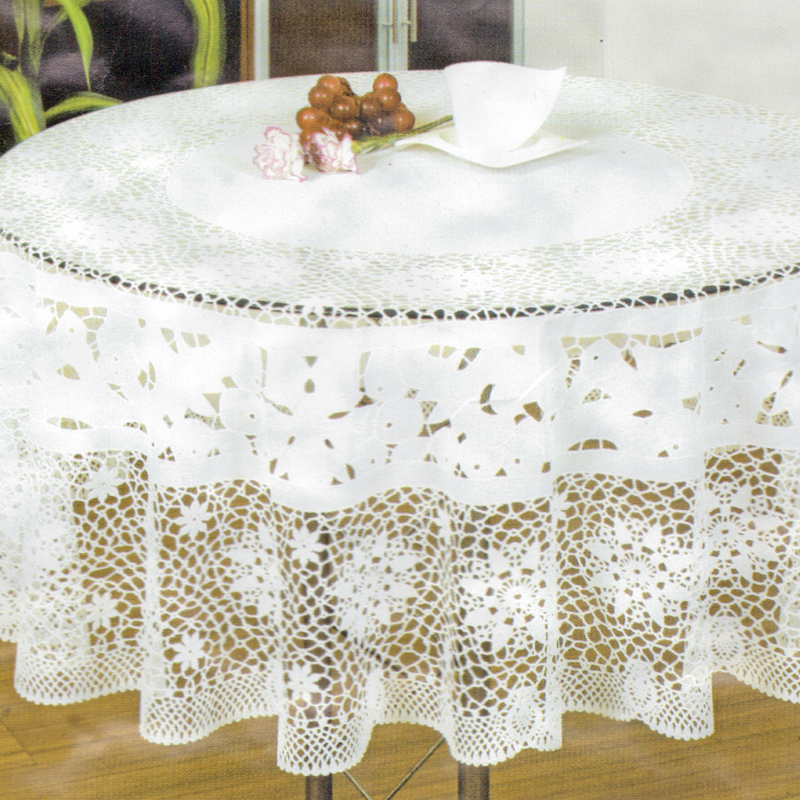 Reviews Vinyl Crochet Round Tablecloth 150cm