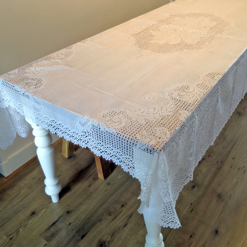 Vinyl Crochet Tablecloth 150x225