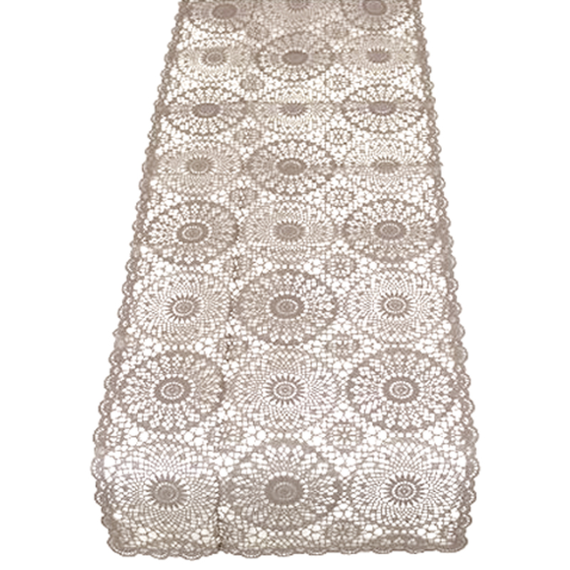 Taupe Vinyl Lace Table Runner 40x150