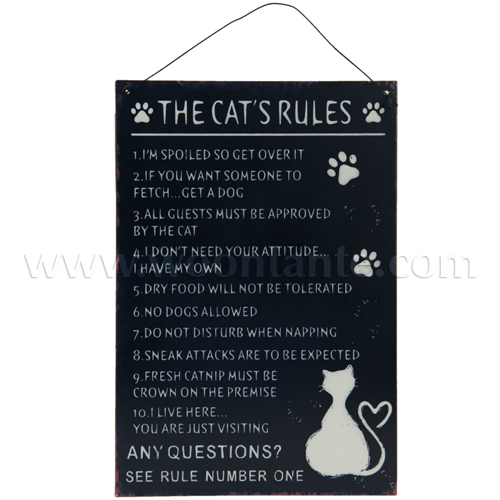 Metalen bord met de 'Cat's Rules'