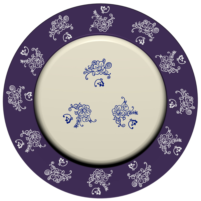 Charger Plate - Floral Lace Blue (A)