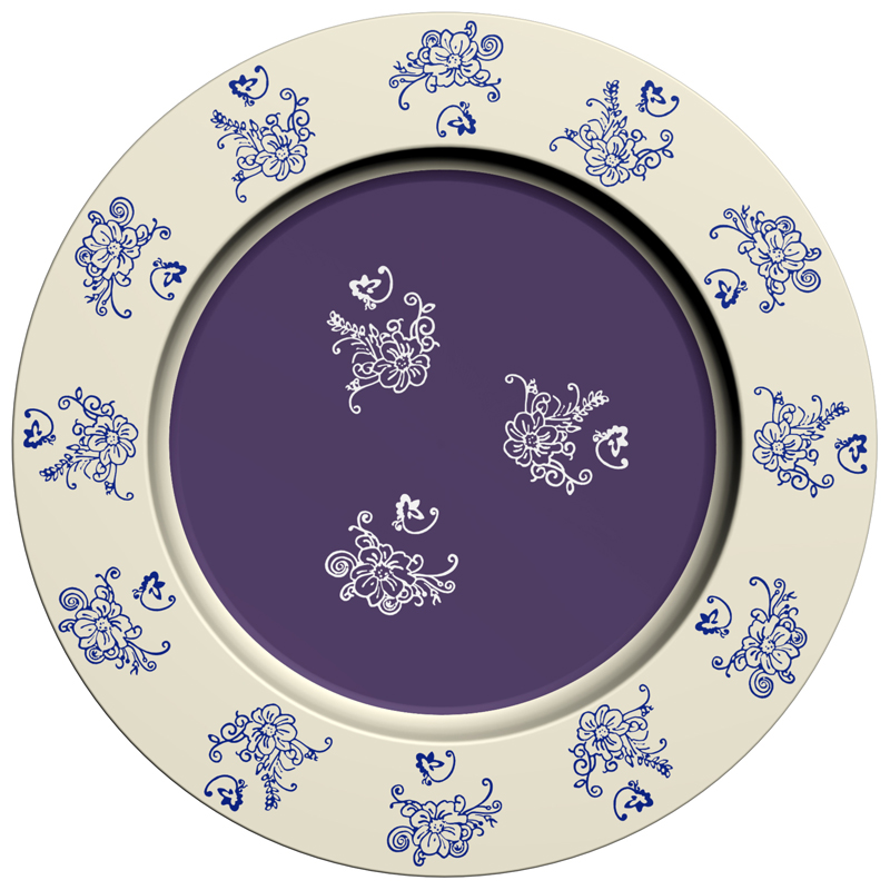 Charger Plate - Floral Lace Blue (B)