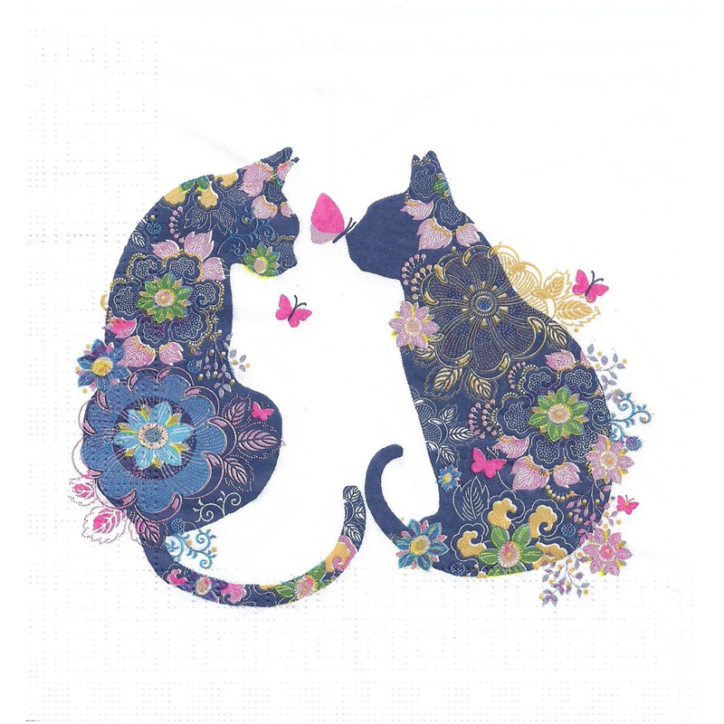 'Floral Cats' Napkins