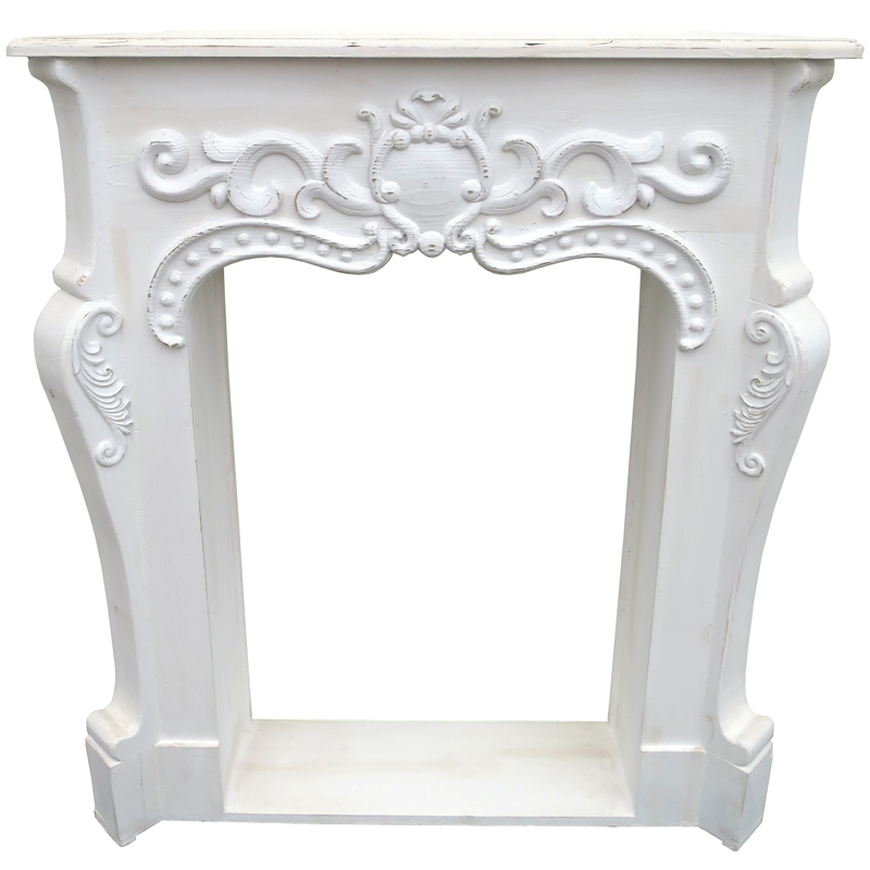 Corner Fireplace Mantel - White