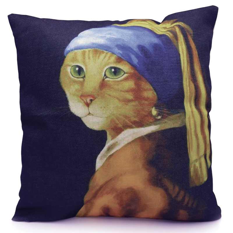Cat Cushion Cover - Cat with a Pearl Earring